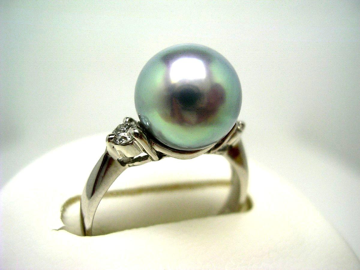 真珠 リング パール オーロラ・真多麻 アコヤ真珠 9.3mm シルバーブルー(ナチュラル) Pt900 プラチナ ダイヤ 0.12ct 60213 イソワパール