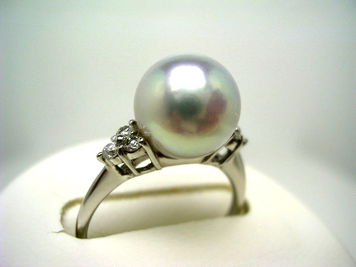 真珠 リング パール オーロラ・真多麻 アコヤ真珠 9.4mm シルバーパープルブルー(ナチュラル) Pt900 プラチナ ダイヤ 0.15ct 62471 イソワパール