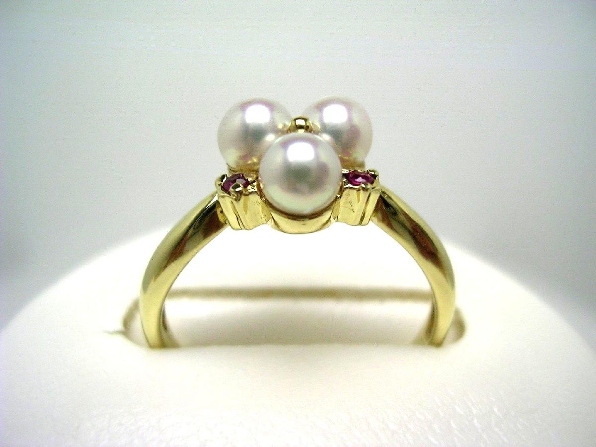 【10%OFF】真珠 リング パール アコヤ真珠 4mm ホワイトピンク K18 イエローゴールド ルビー 62542 イソワパール