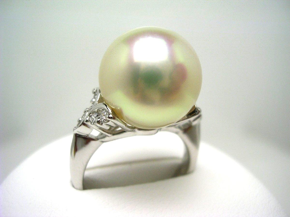 真珠 リング パール オーロラ・フェニックス 白蝶真珠 12.7mm ホワイトピンク Pt900 プラチナ ダイヤ 0.16ct 62891 イソワパール