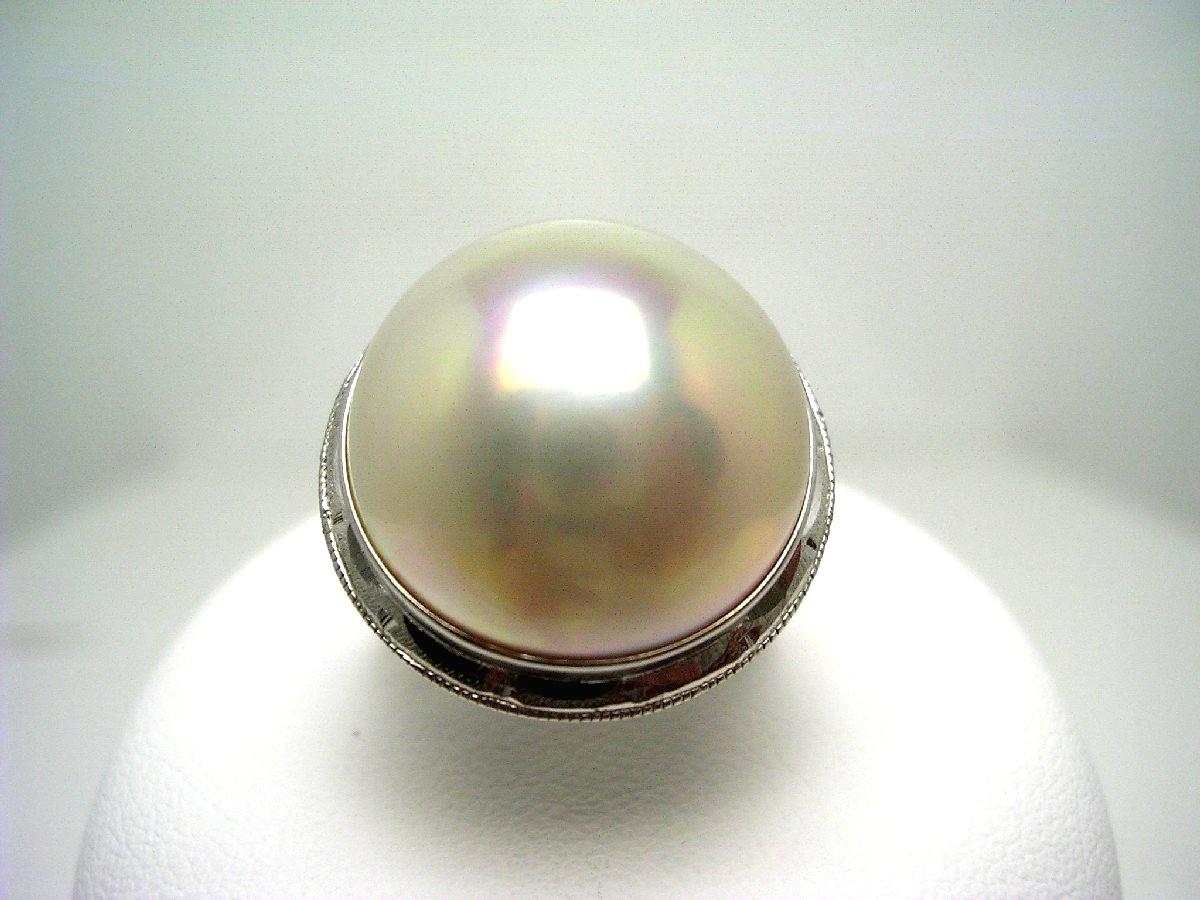 真珠 リング パール マベ真珠 16mm ホワイトクリームピンク K14 ホワイトゴールド 64924 イソワパール
