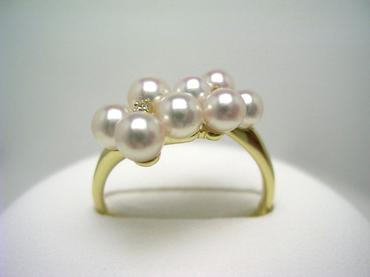 【10%OFF】真珠 リング パール アコヤ真珠 3.8-4.0mm ホワイトピンク K18 イエローゴールド ダイヤモンド 0.02ct 65032 イソワパール