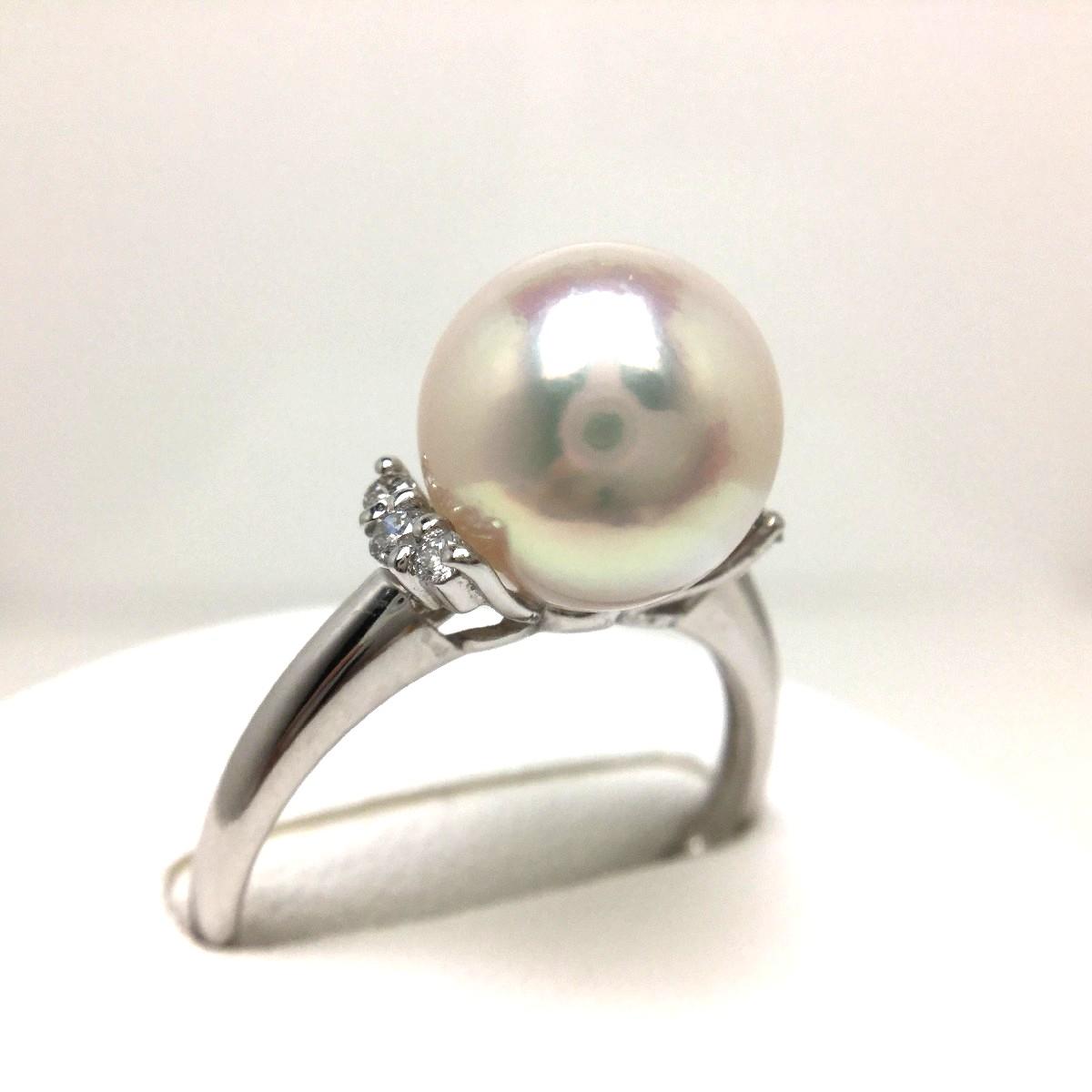 真珠 リング パール オーロラ・花珠 アコヤ真珠 9.3mm ホワイトピンク Pt900 プラチナ ダイヤ 0.1ct 65312 イソワパール