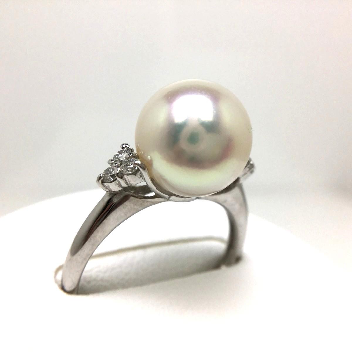 真珠 リング パール オーロラ・花珠 アコヤ真珠 9.4mm ホワイトピンク Pt900 プラチナ ダイヤ 0.1ct 65313 イソワパール