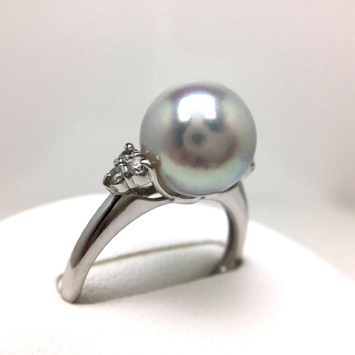 真珠 リング パール 花珠・ナチュラルカラー アコヤ真珠 9.1mm シルバーブルー(ナチュラル) Pt900 プラチナ ダイヤ 0.10ct 65404 イソワパール