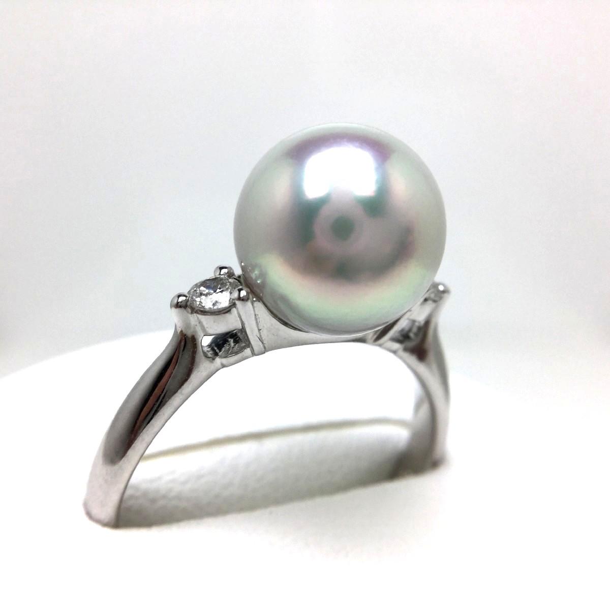 真珠 リング パール オーロラ・真多麻 アコヤ真珠 9.0mm ホワイトシルバーブルー(ナチュラル) Pt900 プラチナ ダイヤ 0.10ct 65523 イソワパール