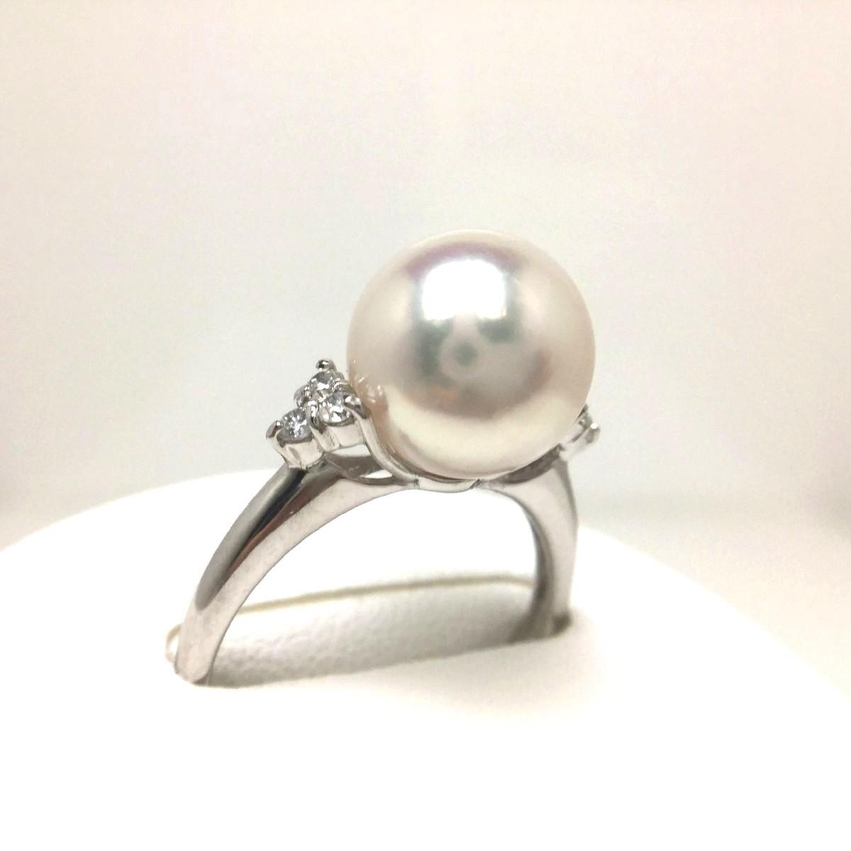 真珠 リング パール オーロラ・花珠 アコヤ真珠 9.5mm ホワイトピンク Pt900 プラチナ ダイヤ 0.10ct 66423 イソワパール