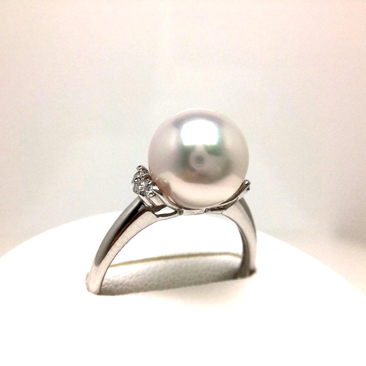 【10%OFF】真珠 リング パール オーロラ・花珠 アコヤ真珠 9.3mm ホワイトピンク Pt900 プラチナ ダイヤモンド 0.10ct 66965 イソワパール