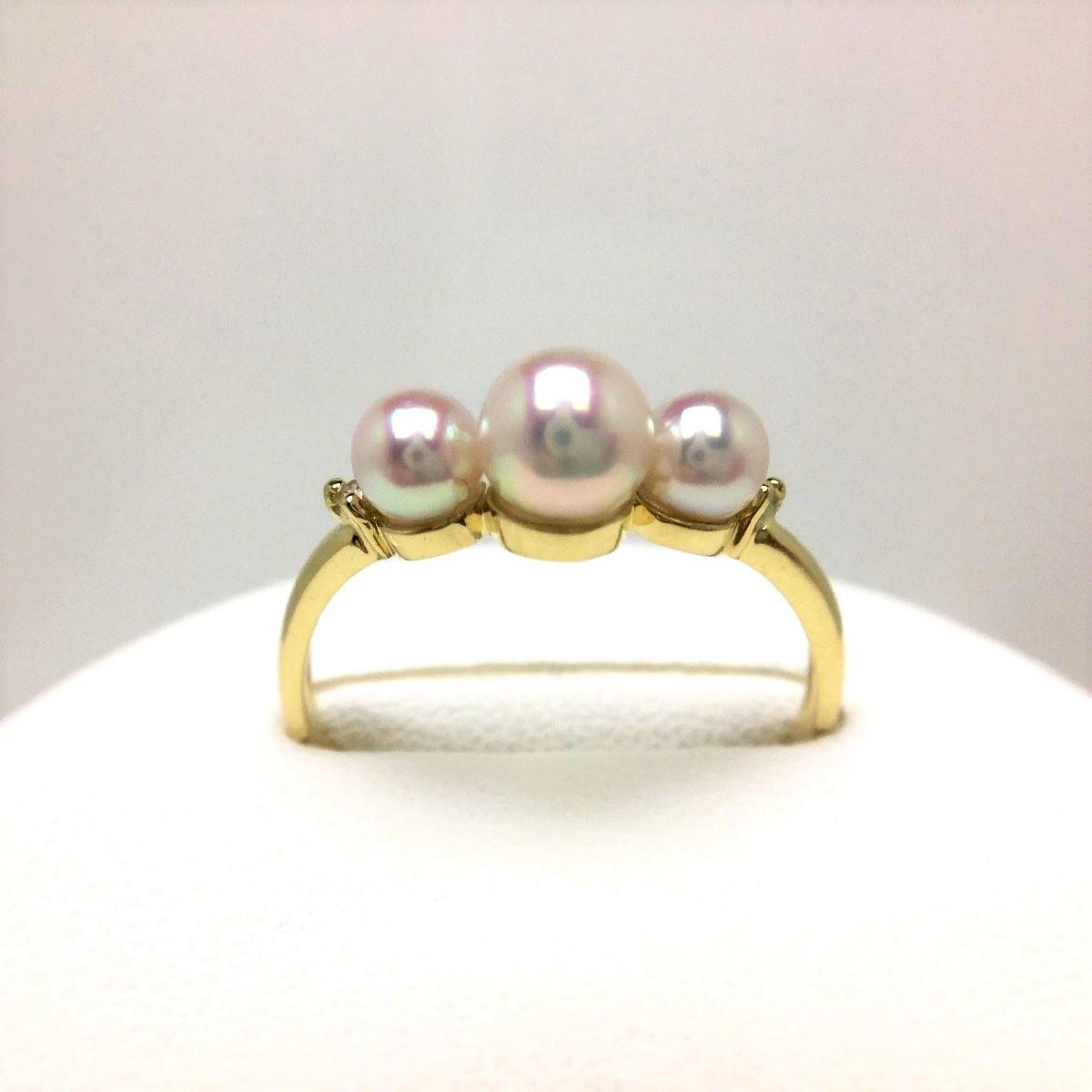 【10%OFF】真珠 リング パール アコヤ真珠 5.0mm・4.0-4.5mm ホワイトピンク K18 イエローゴールド ダイヤモンド 0.02ct 67076 イソワパール