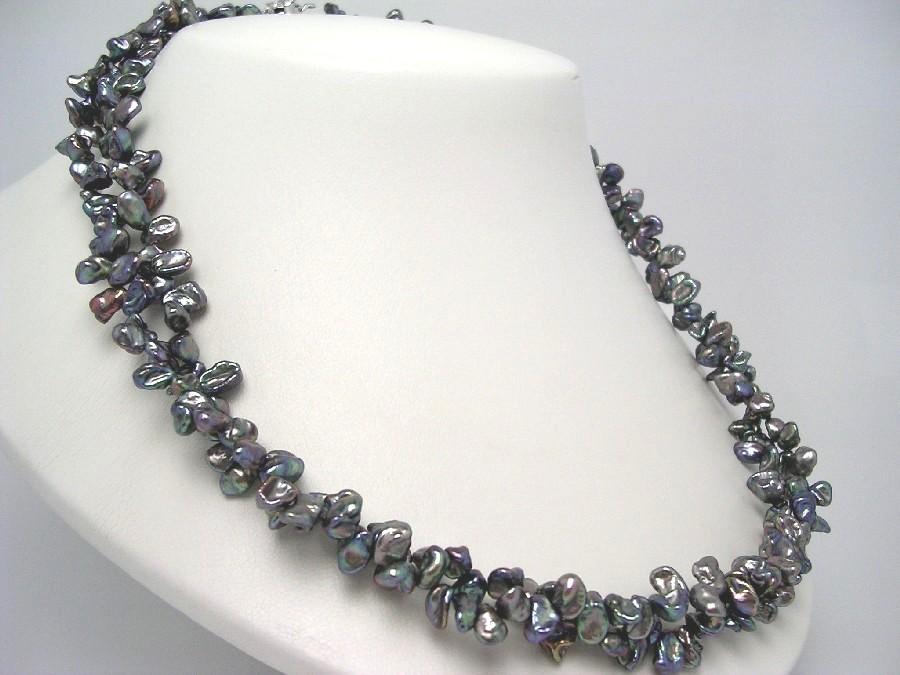 真珠 ネックレス パール 淡水真珠 2連 幅約5.5mm 厚み約3mm メタリックブルー シルバー クラスップ 48945 イソワパール