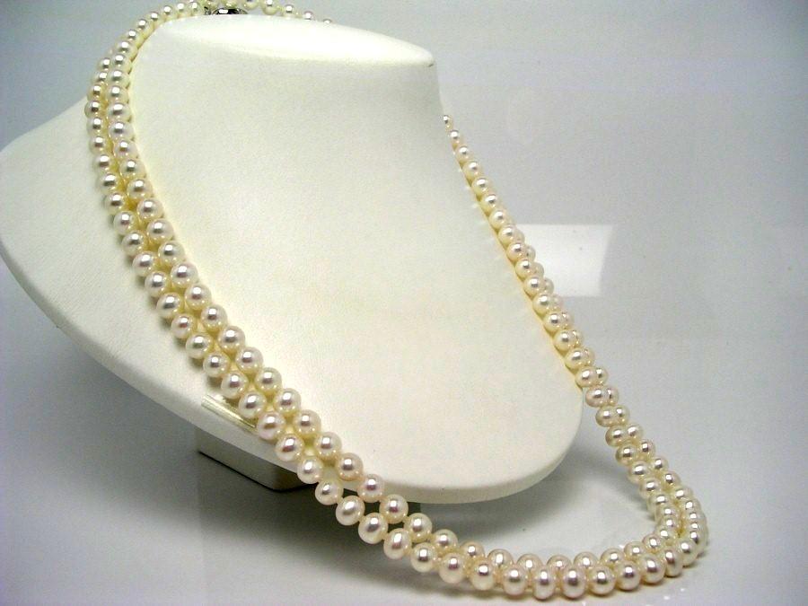 真珠 ネックレス パール 淡水真珠 ロング 7.0-7.5mm ホワイト シルバー クラスップ 52364 イソワパール