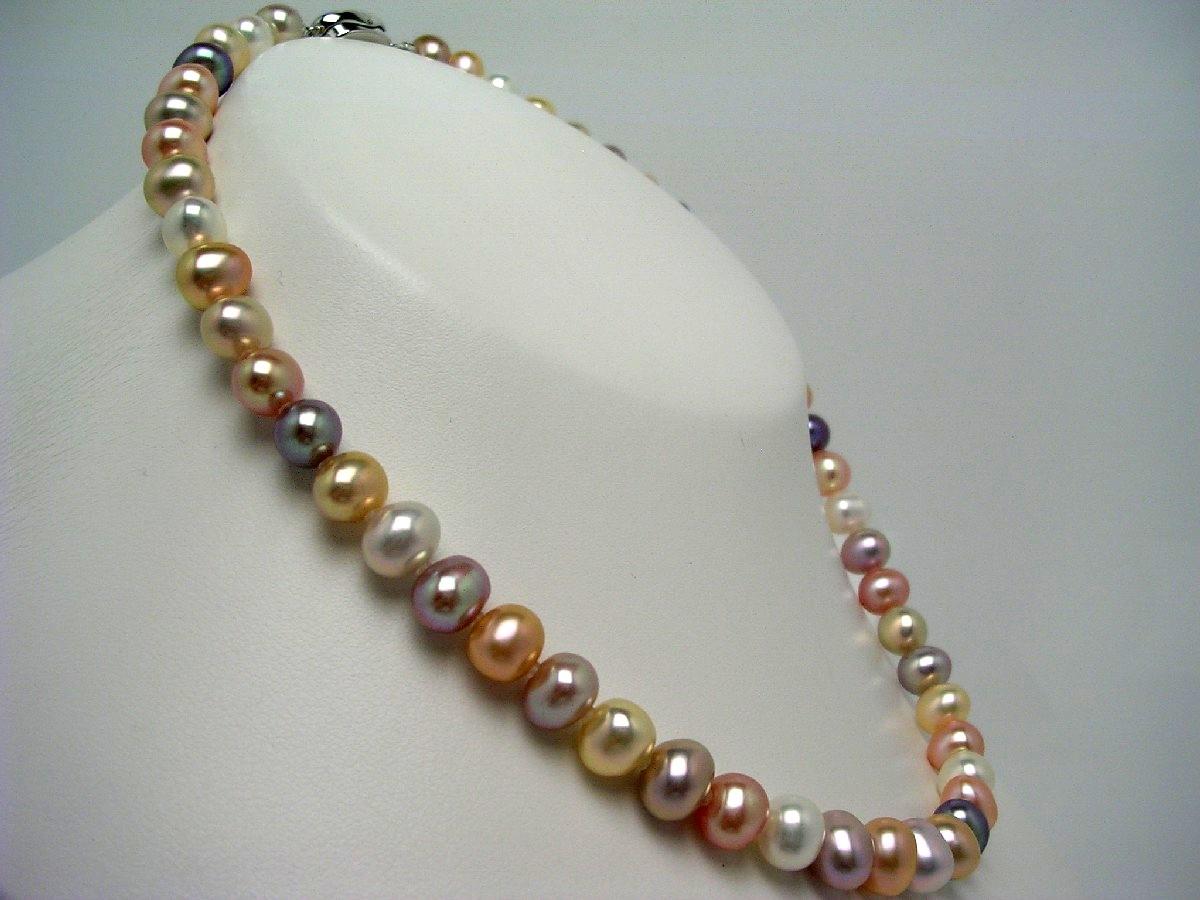 真珠 ネックレス パール 淡水真珠 7.5-8.0mm マルチカラー シルバー クラスップ 59070 イソワパール