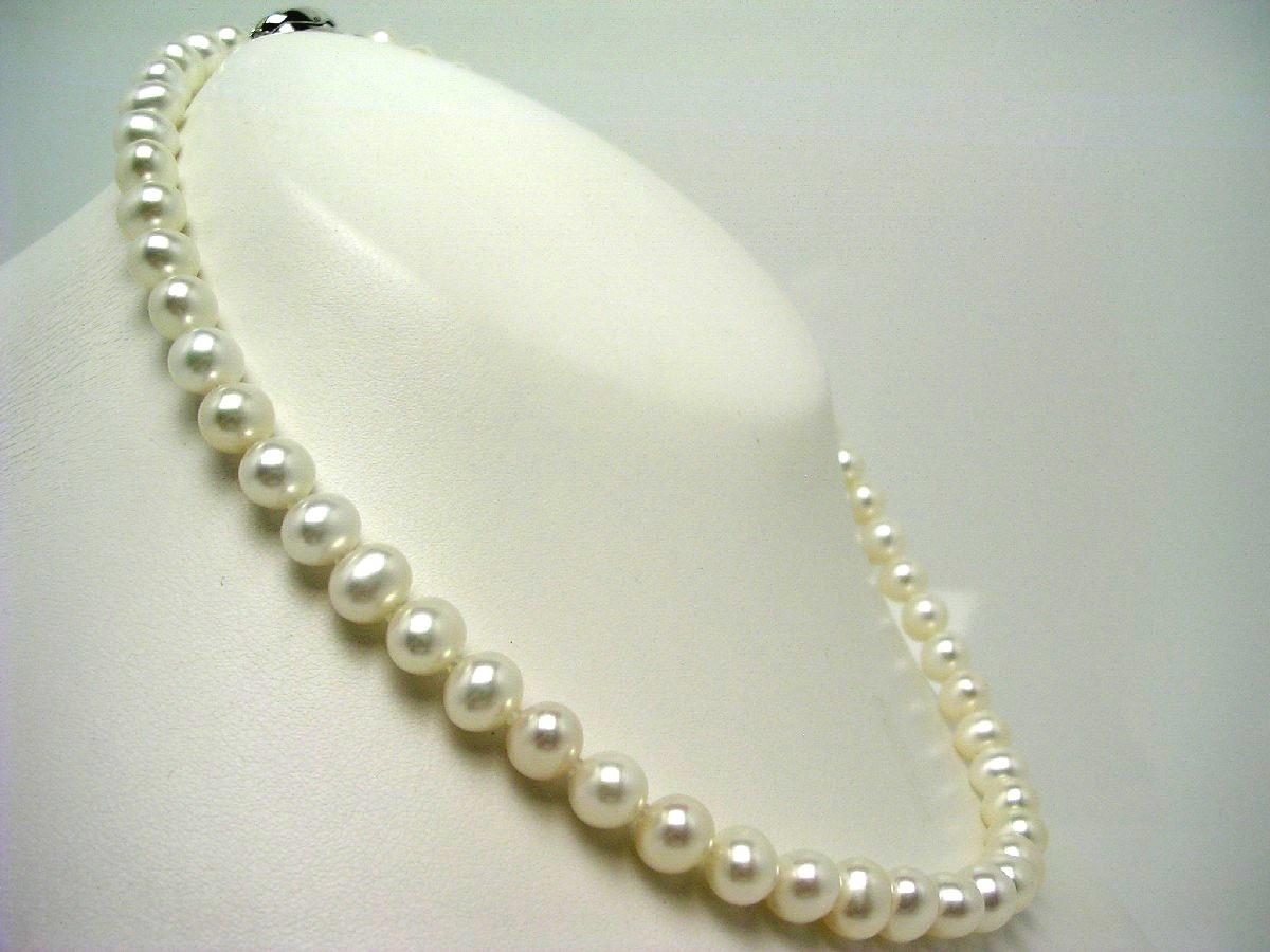 真珠 ネックレス パール 淡水真珠 7.0-8.0mm ホワイト シルバー クラスップ 62481 イソワパール
