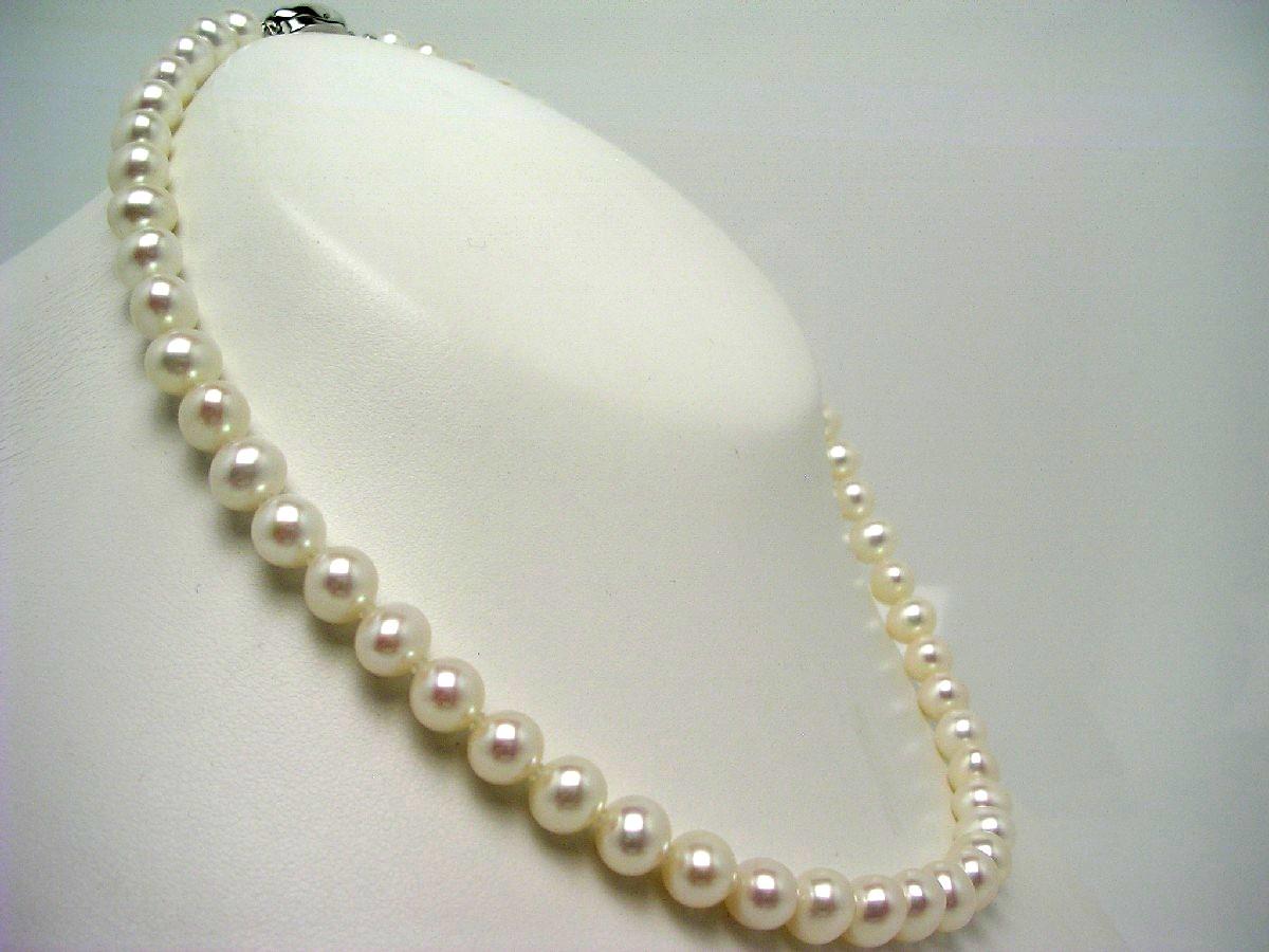 真珠 ネックレス パール 淡水真珠 7.0-8.0mm ホワイト(ピンク寄り) シルバー クラスップ 62482 イソワパール