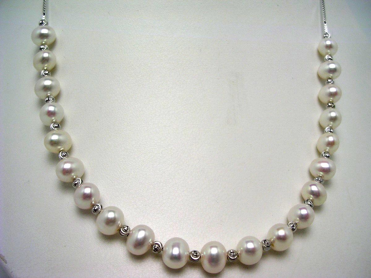 真珠 ネックレス パール 淡水真珠 チェーン 6.5-7mm ホワイト シルバー スライドチェーン 62533 イソワパール