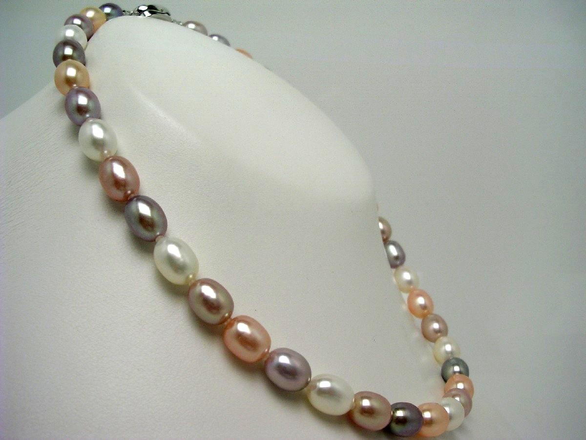 真珠 ネックレス パール 淡水真珠 8.0-8.5mm マルチカラー シルバー クラスップ 62656 イソワパール