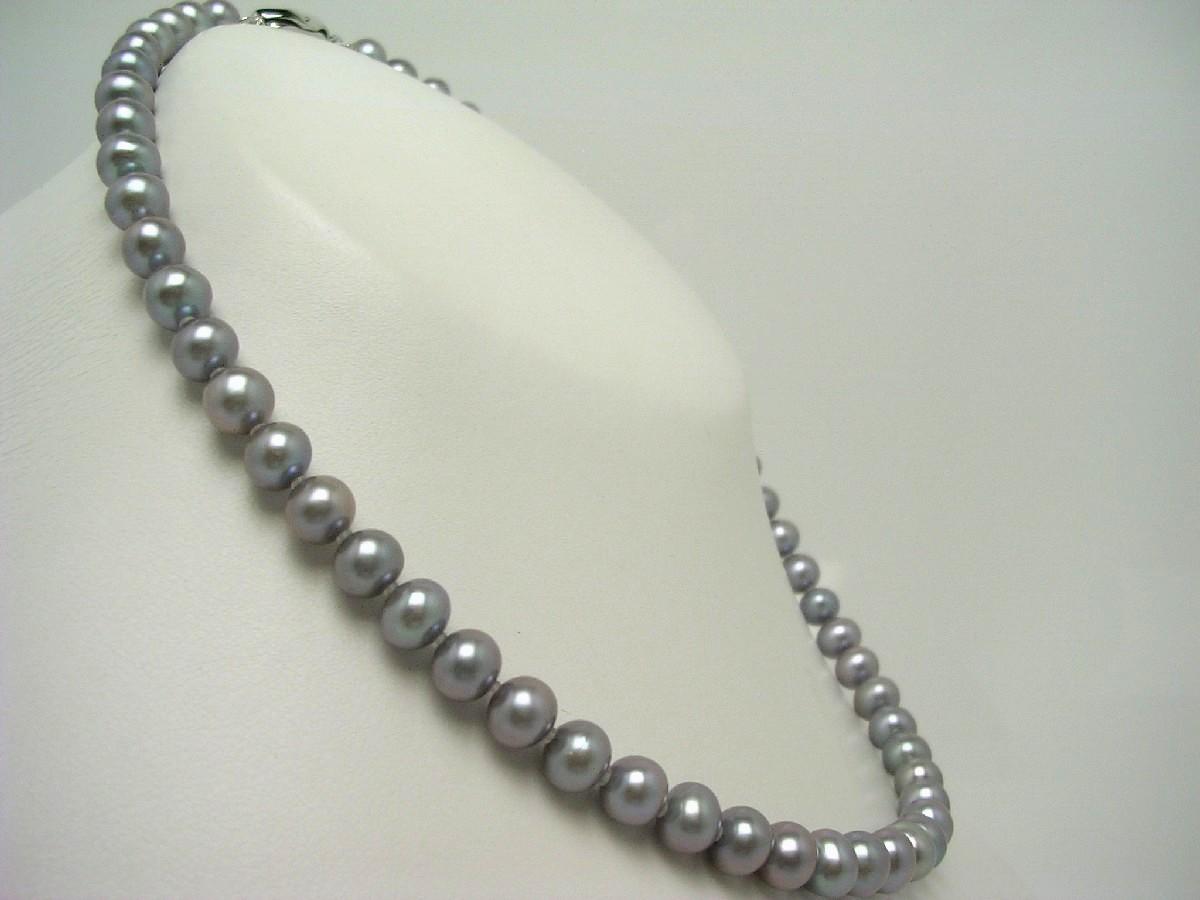 真珠 ネックレス パール 淡水真珠 7.0-7.5mm シルバーグレー シルバー クラスップ 62660 イソワパール