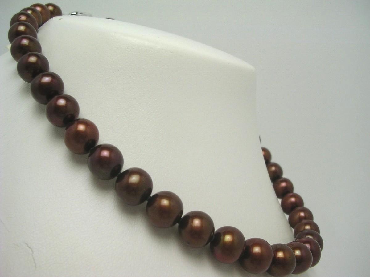 真珠 ネックレス パール 淡水真珠 10-12mm ゴールドブラウン シルバー クラスップ 62742 イソワパール
