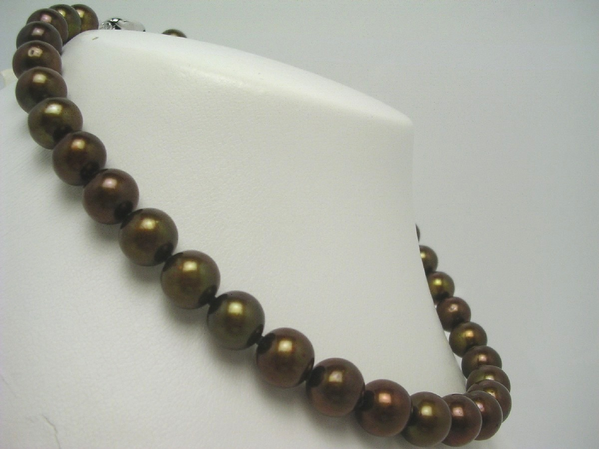 真珠 ネックレス パール 淡水真珠 10-12mm ゴールドブラウン シルバー クラスップ 62743 イソワパール