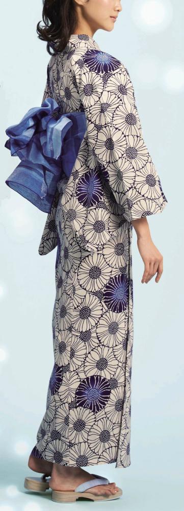 浴衣(ゆかたyukata) 源氏物語浴衣(ゆかた) 麻と綿の布 手縫い仕立て付き 19004 麻30%・綿70% (染色方法・注染) (仕立て無しの反物のみも可) [送料無料]