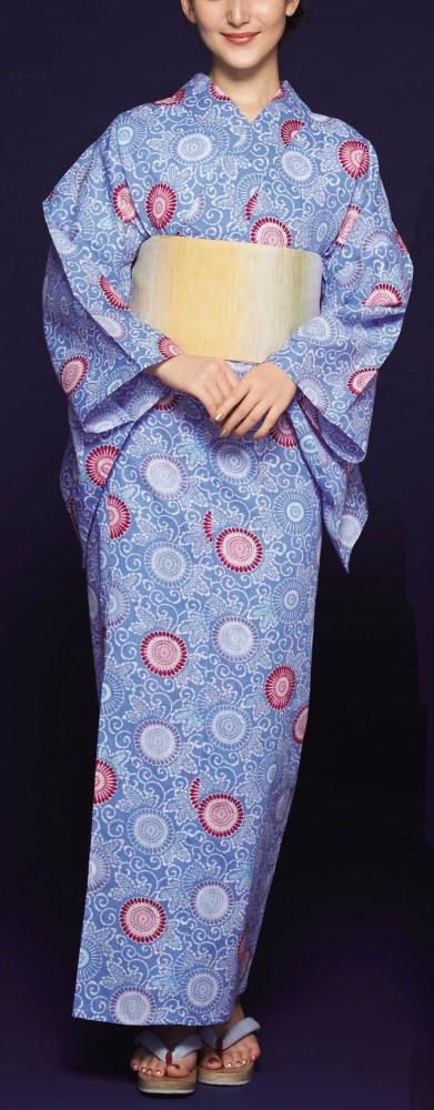 浴衣(ゆかたyukata) 源氏物語浴衣(ゆかた) 紅型調 手縫い仕立て付き 19027 麻30%・綿70% (染色方法・スクリーン染め) (仕立て無しの反物のみも可) [送料無料]