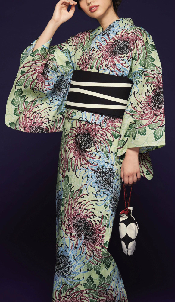 浴衣(ゆかたyukata) 源氏物語浴衣(ゆかた) 紅型調 手縫い仕立て付き 19028 麻30%・綿70% (染色方法・スクリーン染め) (仕立て無しの反物のみも可) [送料無料]