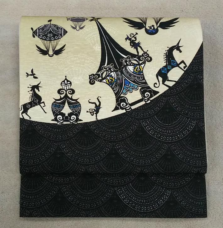 [送料無料] 正絹 京袋帯 カーニバル お仕立て上がり WAKKA カジュアル 着物 きもの 紬 小紋 帯 日本製 名古屋帯