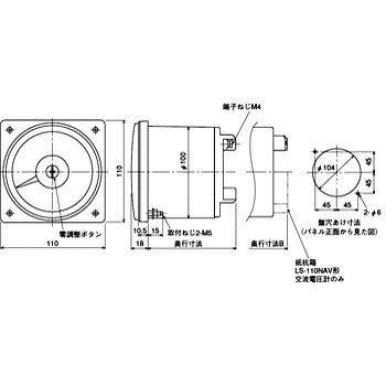 機械式指示計器 交流電圧計 広角度計器 B 0-9000V 6600/110V LS-110NAV