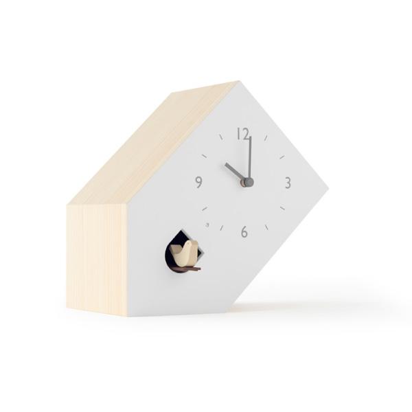 【合計5000円以上のご購入で送料無料】置き時計 時計 白 ブックスタンド ブックエンド プレゼント 贈り物 ギフト 子ども キッズ オシャレ おしゃれ 鳩時計 可愛い 面白い デザイン Lemnos cuckoo-collection tilt 239-00278