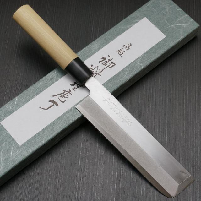 包丁 薄刃 195mm 藤次郎 藤次郎作 安来鋼白紙2号 鍛造 朴木柄 業務用 本職用 プロ用 噛み付くような切れ味