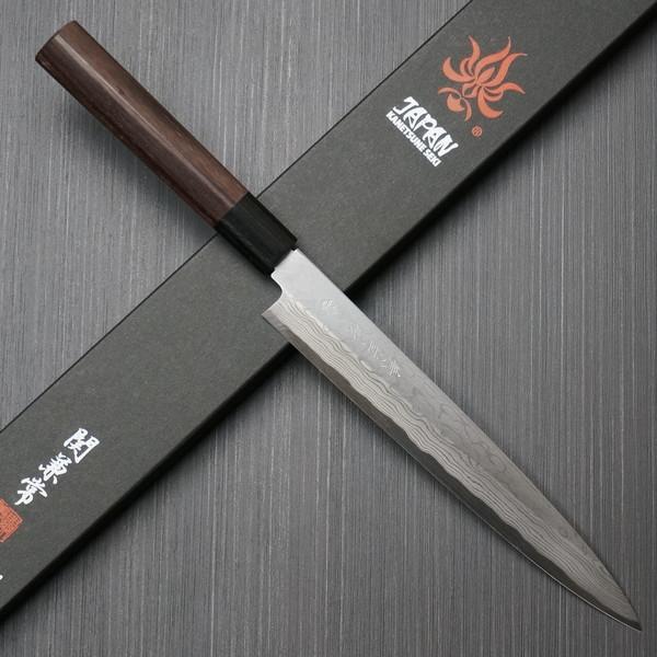 包丁 柳刃刺身 210mm 11層ダマスカス鋼 安来鋼白紙2号 紫檀柄 7寸 関兼常 鋭い切れ味 KC-403