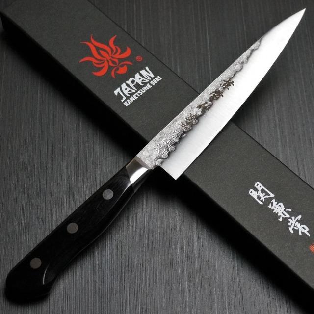 KANETSUNE SEKI NASHIJI HAMMERED BLUE STEEL AOGAMI #2 PETTY UTILITY KNIFE  135MM KC-924