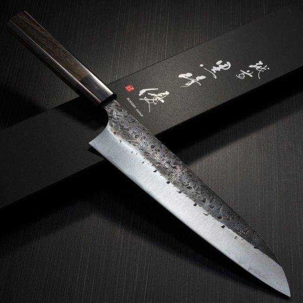包丁 牛刀 210mm 越前打刃物 伝統工芸士 黒崎優 鎚目黒打 青紙スーパー 鍛造 7寸 TVで放送