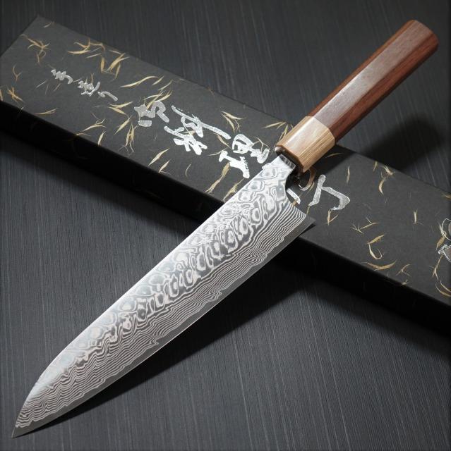 包丁 牛刀 210mm ダマスカス 粉末ステンレスハイス スーパーゴールド2 磨き仕上げ ジャラ柄 義実作 越前打刃物