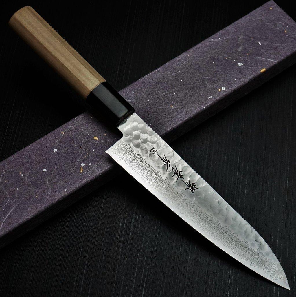 包丁 和牛刀 180mm 45層ダマスカス ステンレス 槌目 6寸 朴木柄 堺孝行 鋭い切れ味