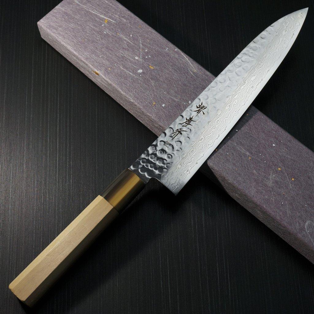 包丁 和牛刀 210mm 45層ダマスカス ステンレス 槌目 7寸 朴木柄 堺孝行 鋭い切れ味