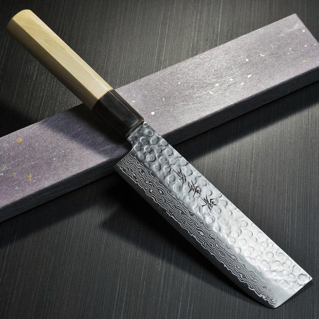 包丁 和菜切 160mm 菜切り 45層ダマスカス ステンレス 槌目 朴木柄 堺孝行 鋭い切れ味