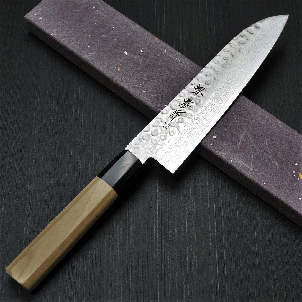 包丁 和三徳 180mm 45層ダマスカス ステンレス 槌目 6寸 朴木柄 堺孝行 鋭い切れ味