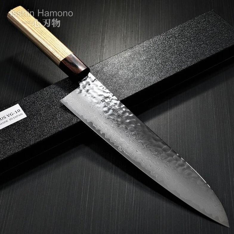 包丁 牛刀 和式牛刀 240mm 33層槌目ダマスカス V金10号 ステンレス 堺孝行 日本製