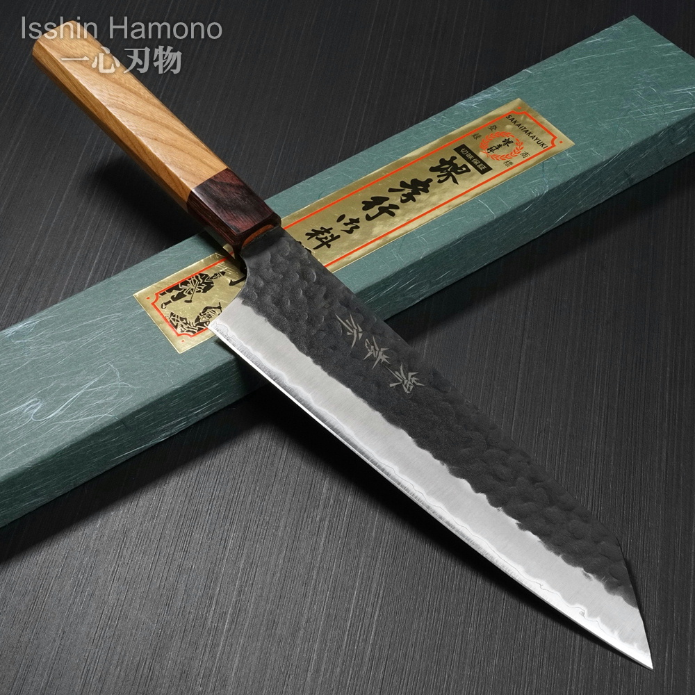 剣型牛刀 200mm 黒槌目 堺孝行 日本製 包丁 青紙スーパー