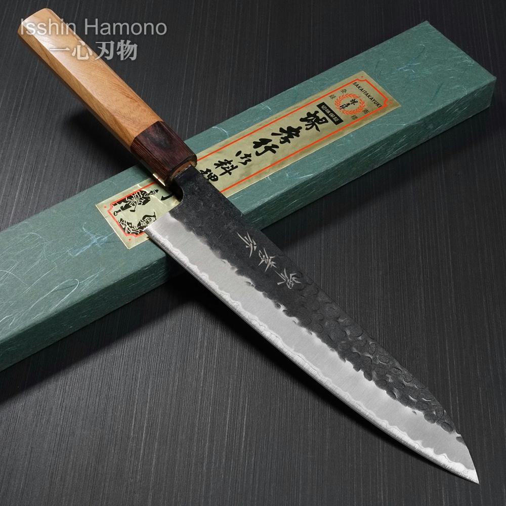 日本製 黒槌目 包丁 青紙スーパー 210mm 和牛刀 牛刀 堺孝行