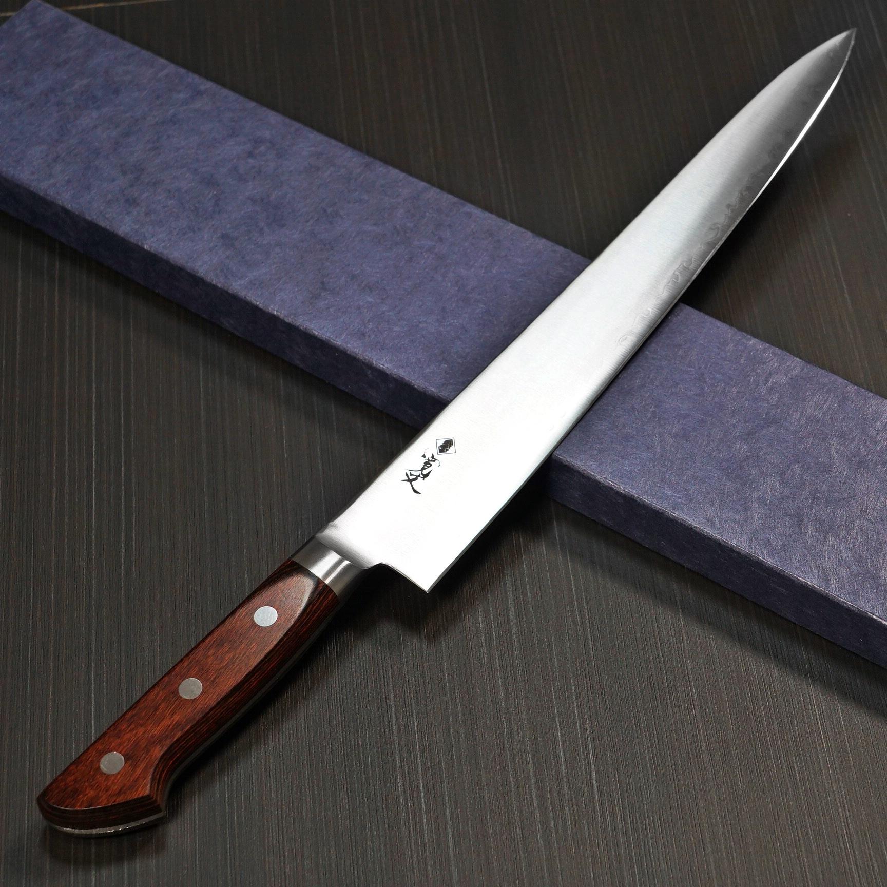 筋引 粉末ハイス 青紙スーパー 日本製 口金付き 270mm 関市 プロ仕様 寛丈 本刃付け 包丁