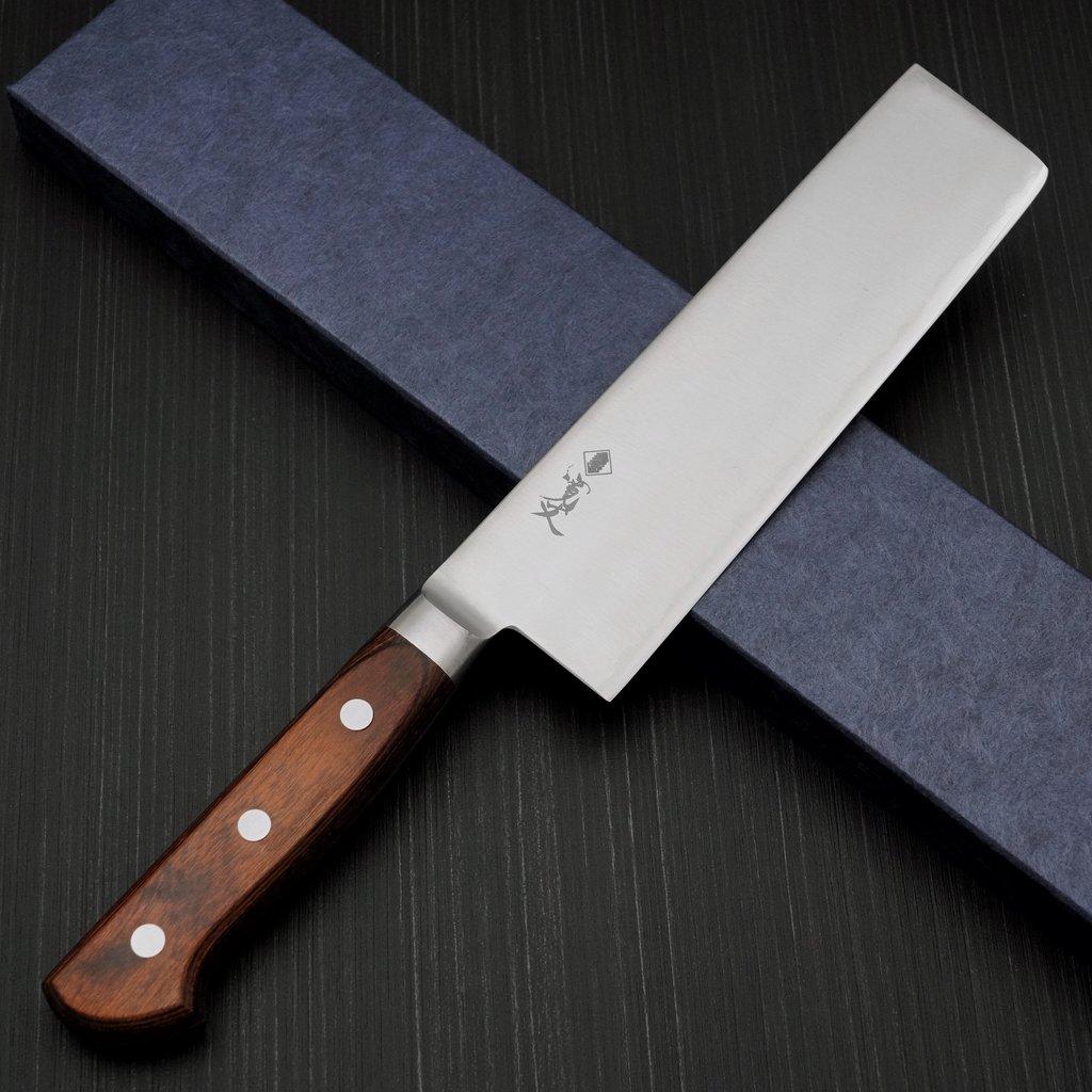 日本製 粉末ハイス 関市 包丁 165mm HAP40 口金付き プロ仕様 菜切包丁 寛丈 本刃付け