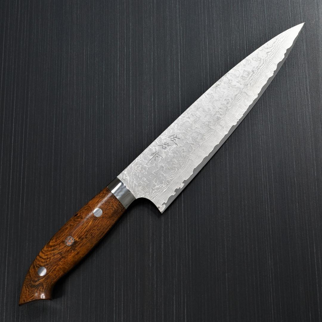 包丁 牛刀 210mm 佐治打刃物 ダマスカス 粉末ハイスステンレス スーパーゴールド2 マット仕上 アイアンウッド 佐治武士
