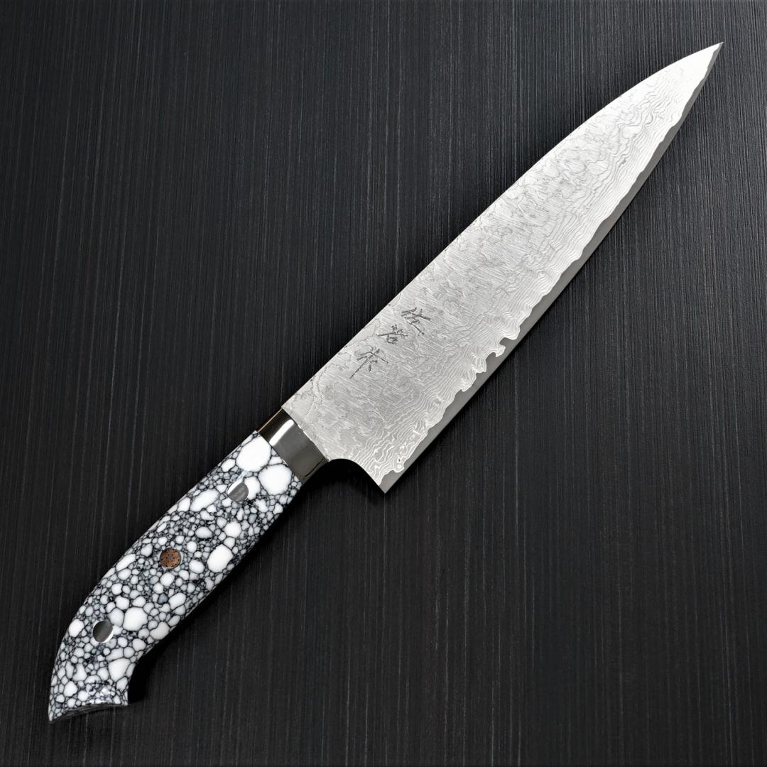 包丁 牛刀 210mm 佐治打刃物 ダマスカス 粉末ハイスステンレス スーパーゴールド2 マット仕上 ホワイトターコイズ 佐治武士
