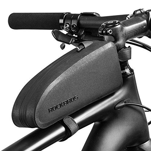 無駄のないデザインと高機能なフレームバッグ 日本製 予約販売 送料無料 防水自転車フレームバッグ トップチューブバッグ 自転車用 小物収納 簡単装着 雨対策 ロックブロス シンプル ROCKBROS シックなデザインシリーズ