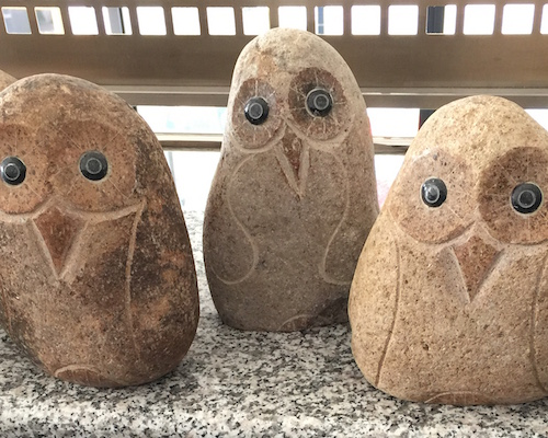 ふくろう自然石