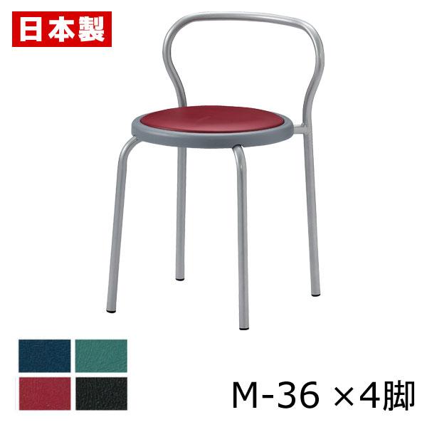 【同色4脚セット】 サンケイ M-36 スツール 背付 ビニールレザー張り