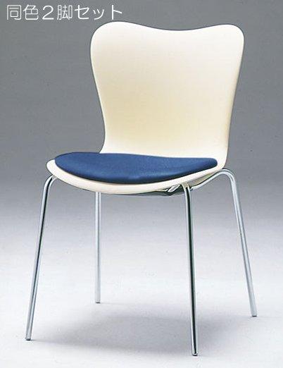 CM510-CX_X2 ミーティングチェア 会議椅子 4本脚 クロームメッキ 肘なし ポリウレタンレザー張り 【同色2脚セット】
