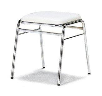 M-18_X1 スツール 丸椅子 4本脚 クロームメッキ 肘なし ビニールシート張り